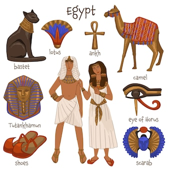 古代エジプトの文化と伝統、アンティークの服を着た孤立した男性と女性。ラクダの哺乳類と猫の神、スカラベと靴のアンクとホルスの目、蓮とツタンカーメン。フラットスタイルのベクトル