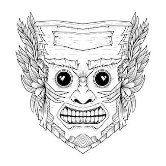 Culture mask woody hawaii vintage