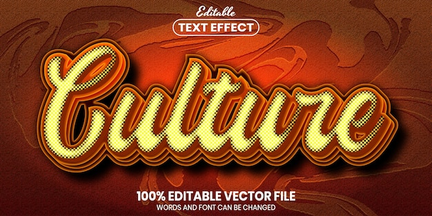 Culture text, font style editable text effect