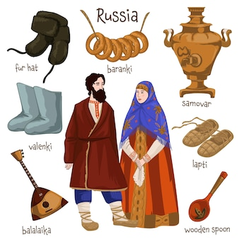 Culture and traditions of russia, male and female characters wearing clothes of old times. samovar and baranki, fur hat and valenki, shoes and wooden spoon, balalaika instrument. vector in flat style