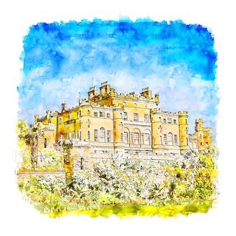 Замок калзин акварельный эскиз рисованной иллюстрации