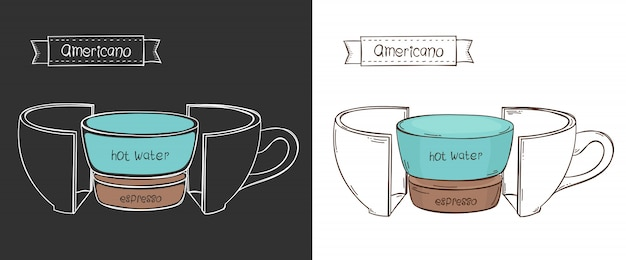 Cup of americano. info graphic cup in a cut