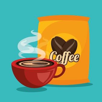 Кофе в чашке и сумке