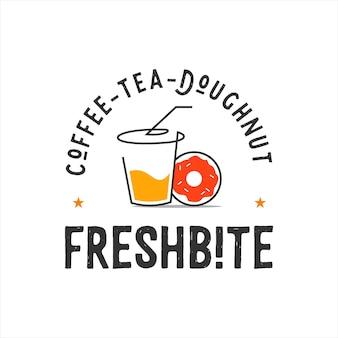 エンブレムスタイルのカップとドーナツのロゴのベクトル