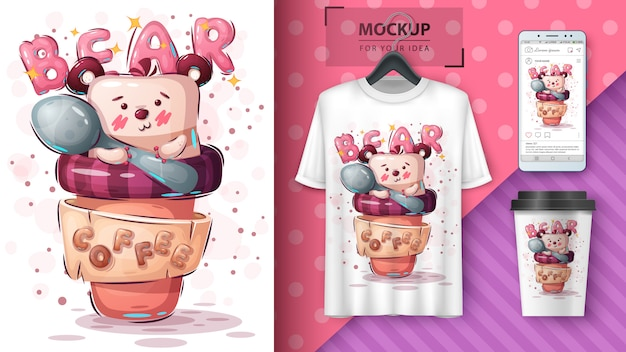 Cup of bear poster and merchandising