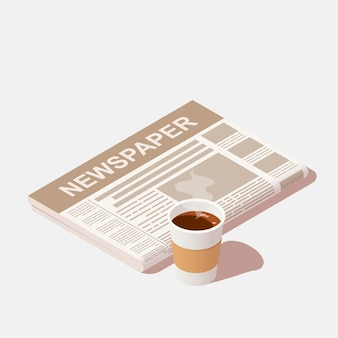 A cup of black coffee and daily newspaper