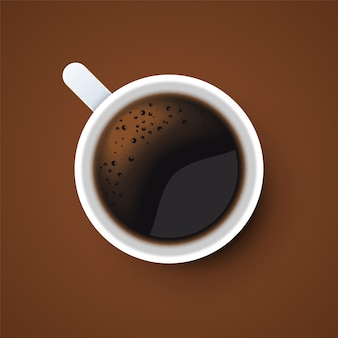 Cup of black coffee top view