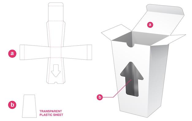 透明なプラスチックシートダイカットテンプレートとカップボックスと矢印ウィンドウ