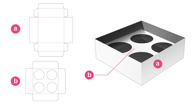 Cup box with insert supporter die cut template