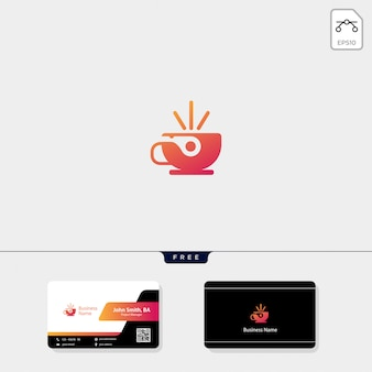 Cup cafe logo and free business card design