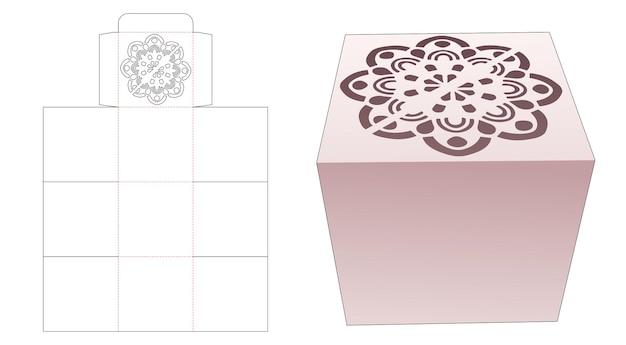 Коробка для торта с вырезанным по трафарету шаблоном мандалы