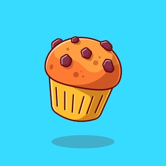 Cup cake cartoon   icon illustration. food pastry icon concept isolated  . flat cartoon style