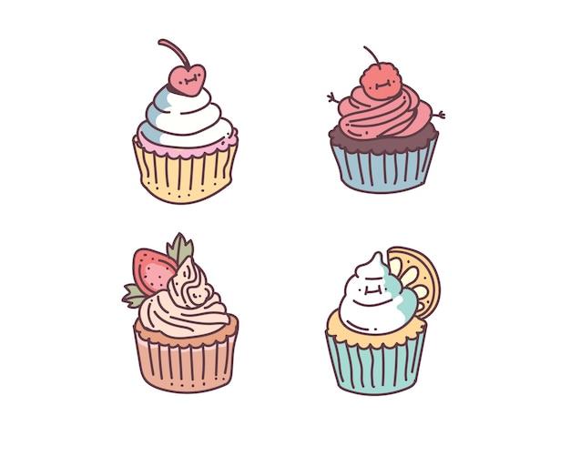 컵 케이크 낙서 스타일. 컵 케이크 그리기 스타일