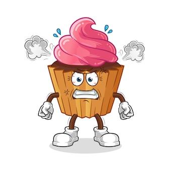 カップケーキ非常に怒っているマスコット