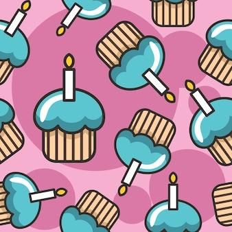 キャンドルシームレスのパターンとカップケーキ