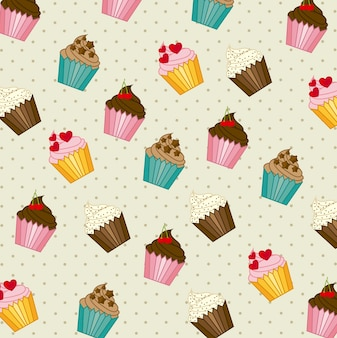 Cup cakes pattern vintage style vector illustration