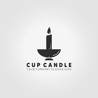 컵 촛불 빛 로고 벡터 일러스트 디자인 빈티지 아이콘