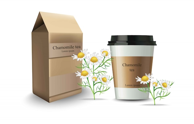 Cup of chamomile tea packaging