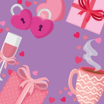 Cup champagne with set icons for san valentines day illustration