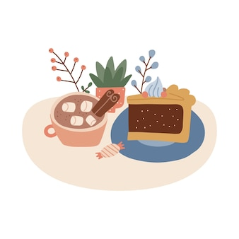 A cup of cocoa with marshmallow and cinnamon stick  delicious piece of pie thanksgiving day isolated...