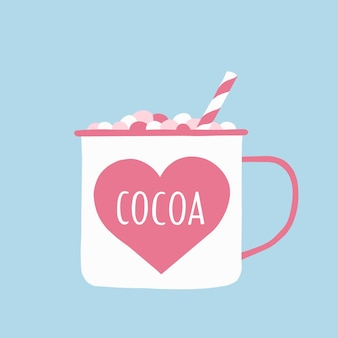 A cup of cocoa with marshmallows and a straw in delicate pink and blue tones.