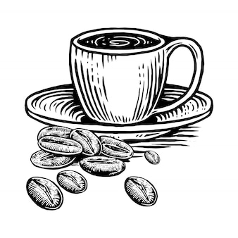 Cup coffe with coffe beans