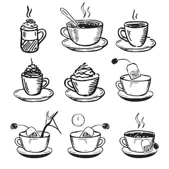カップコーヒーと紅茶の手描きスタイルベクトル図