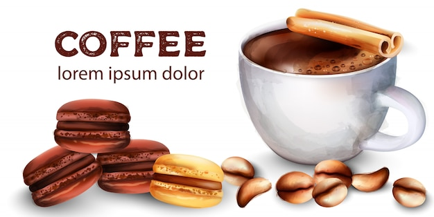 Cup of coffee, beans, cinnamon sticks, french macaroon sweets