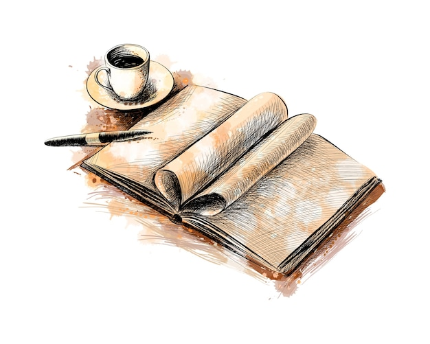Cup of coffee and a book with a pen from a splash of watercolor, hand drawn sketch.  illustration of paints