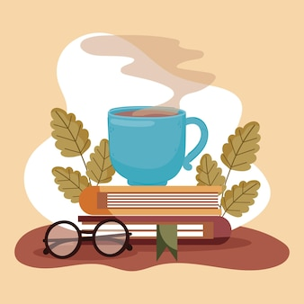 Cup coffee books and eyeglasses