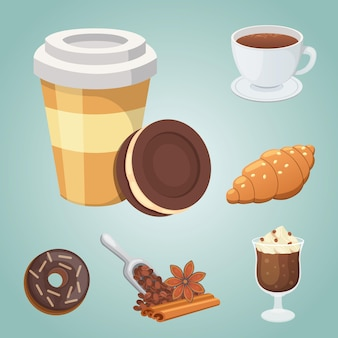 Cup of coffee, cappuccino, latte and chocolate food