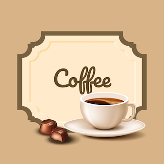 Cup coffee and chocolate candies. coffee time. natural arabica. vector illustration. nature composition