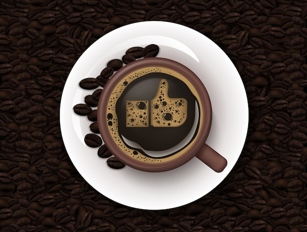 Cup of coffee and coffee beans background
