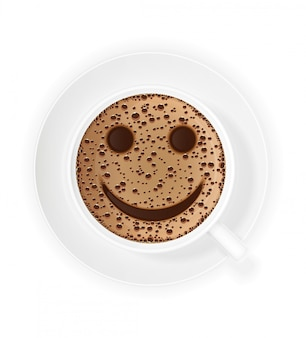 Cup of coffee crema and smiley symbol