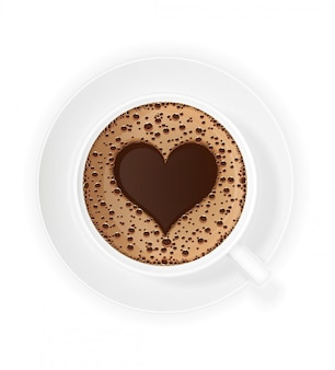 Cup of coffee crema and symbol heart