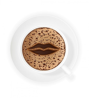 Cup of coffee crema and symbol lips