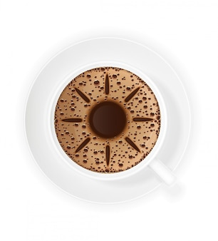 Cup of coffee crema and symbol sun