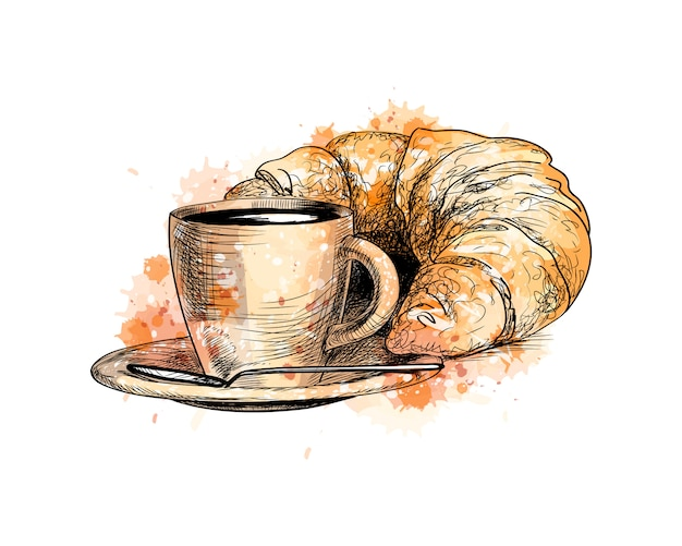 Cup of coffee and a croissant from a splash of watercolor, hand drawn sketch. vector illustration of paints
