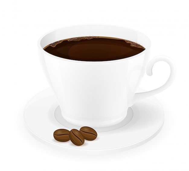 Cup of coffee and grains vector illustration