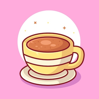 A cup of coffee logo vector icon illustration premium coffee cartoon logo in flat style
