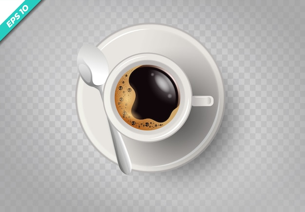 A cup of coffee and saucer, top view, realistic