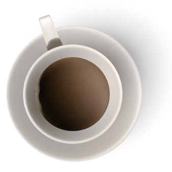 A cup of coffee and saucer, top view.