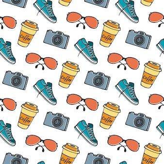 Cup of coffee on takeaway, glasses, camera, sneakers seamless pattern hand drawing doodle.