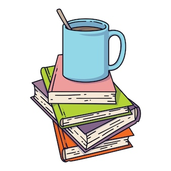Cup of coffee or tea on book pile.