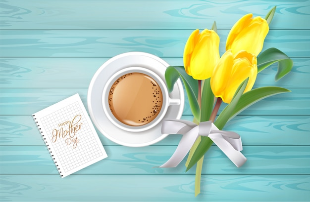 Cup of coffee and tulip flowers bouquet