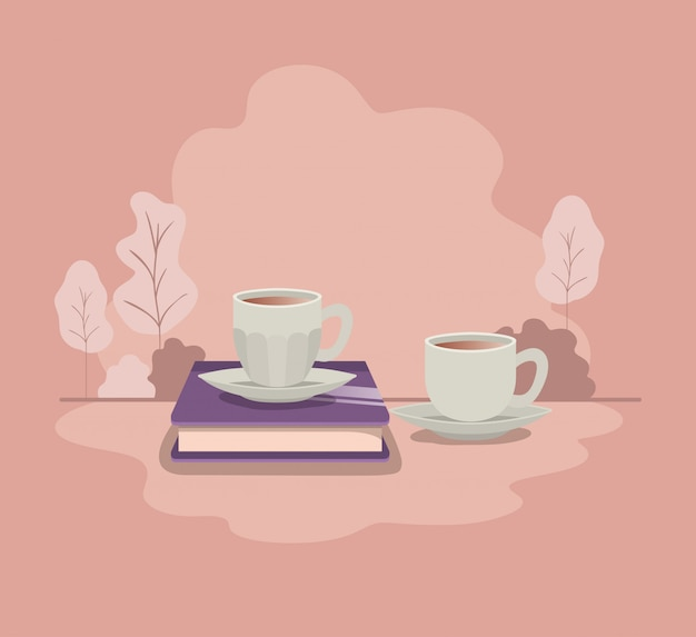 Cup of coffee with book isolated icon