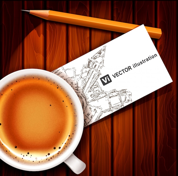 Cup of coffee with business card and pencil on a wooden table.
