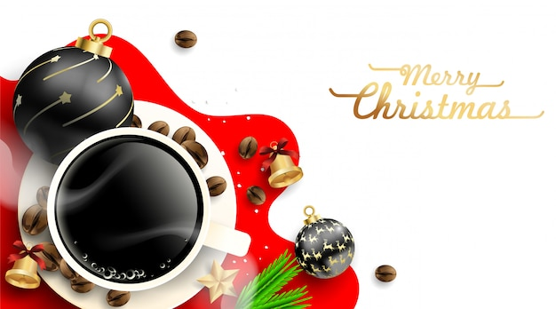Cup of coffee with christmas balls decorations and coffee beans