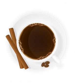 Cup of coffee with cinnamon sticks top view vector illustration