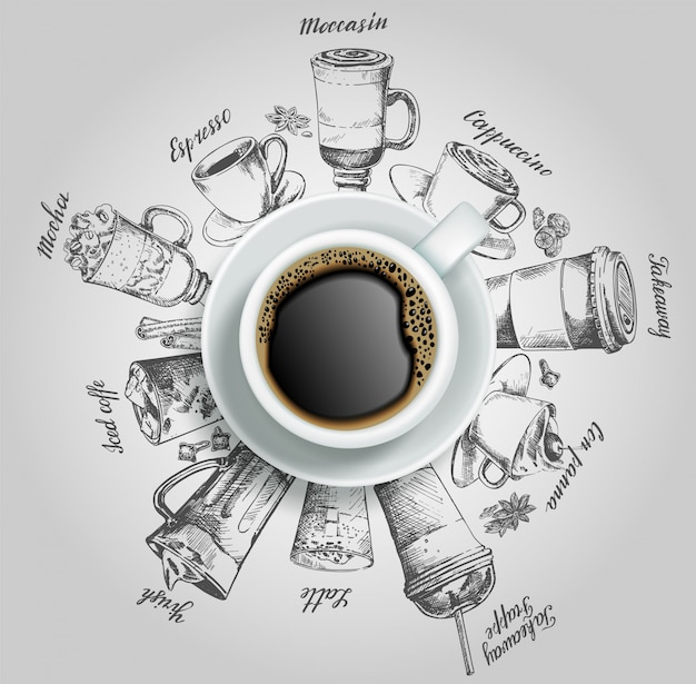 Cup of coffee with coffee drinks   creative illustration